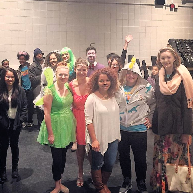 Some of the morning crew for PassionKidz at 7 AM getting ready for first service. I was Tinkerbell! Picture taken by Denise Fadina.