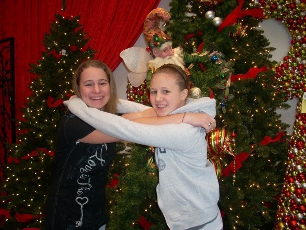 My sister and I at Bachman's near one of the Christmas displays