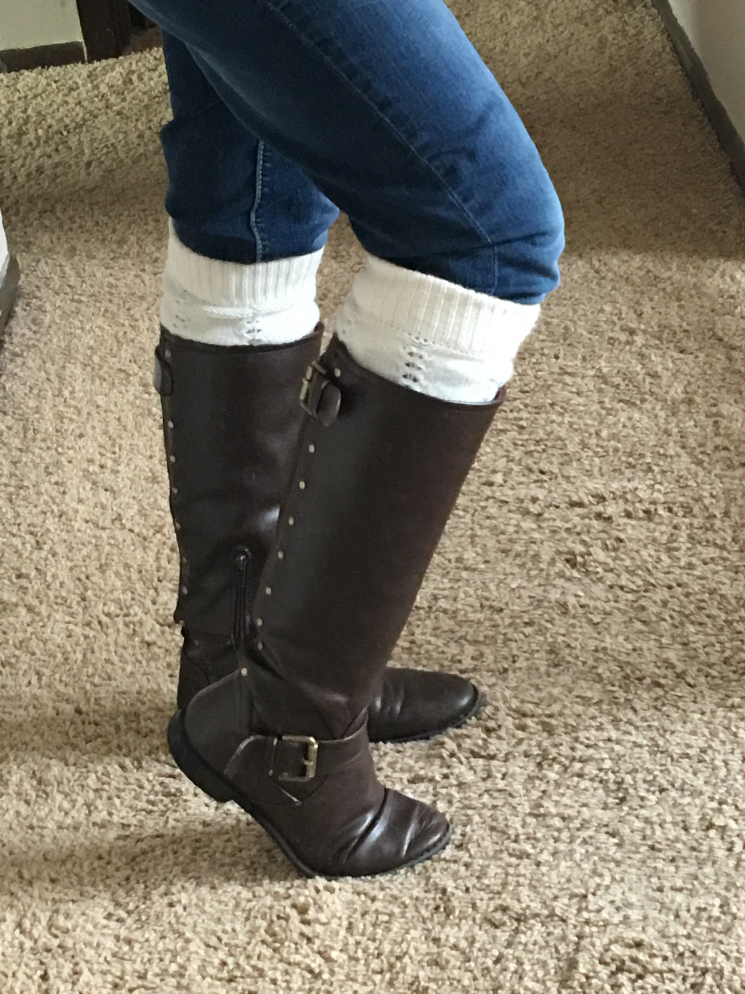 Boots from DSW,Leg warmers, and Blue jeans from Maurices
