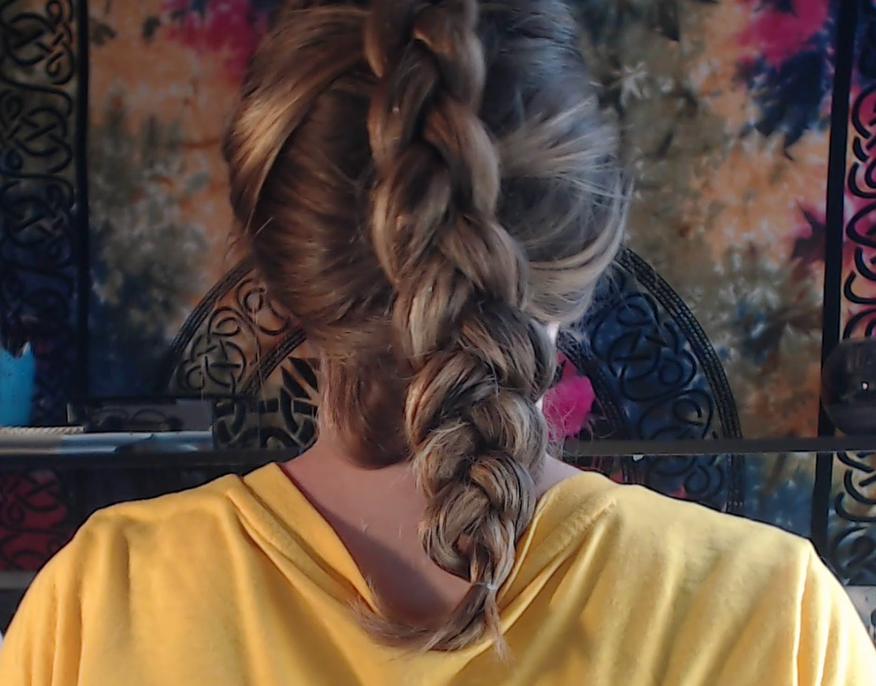 Dutch braid, I would've bobby pinned that loose section for example as it doesn't look good, but I didn't see that until after filming. Same goes for the gap at the end of the Dutch braid.