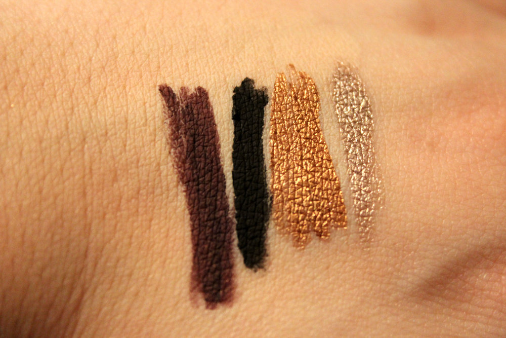 Left to Right: Mulberry, Black, Copper, and Champagne